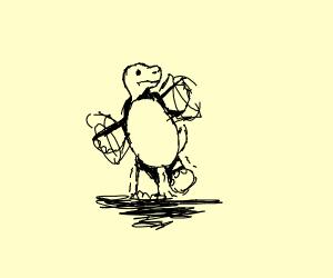 turtle tries to walk like a human