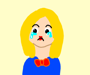 Sad woman wearing a red bowtie
