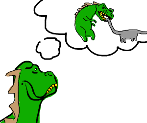 Green dino wanting to eat grey dino