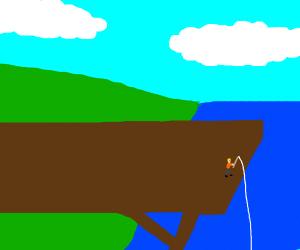 Miniature going fishing