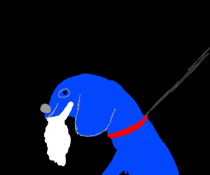 A blue dog with a white beard