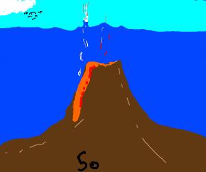 the number 50 under an underwater volcano
