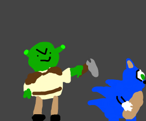 SHREK IS ABOUT TO HIT SONIC WITH A HAMMER