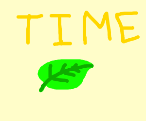 the word time in yellow with a green leaf