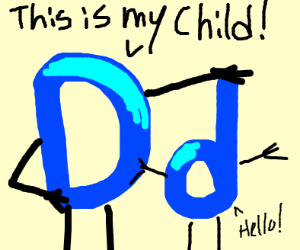 Drawception and their child, a lowercase d.