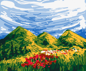 A lovely meadow by equally lovely mountains