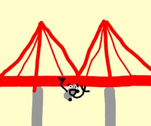 Skateboard falls off a bridge