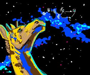 Girrafe stares at star constellation
