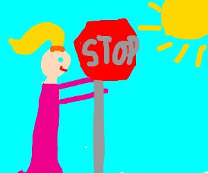 Barbie hugging a Stop Sign