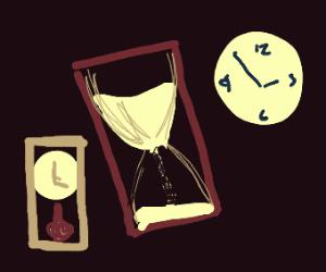 hour glass and clocks