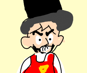 Pizza Man with Beard and Top Hat