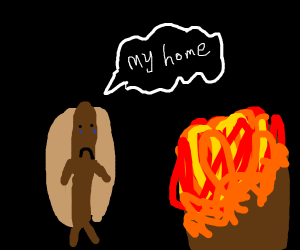 hot dog's home burns down