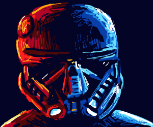 Half red half blue Storm Trooper