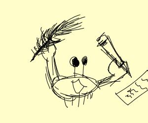 one crabby boi utilizes writing utensil