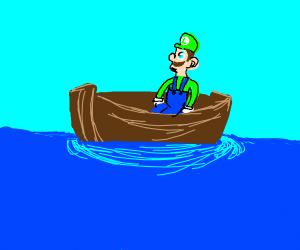 Luigi on a boat
