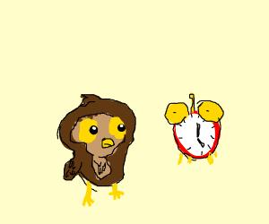 Owl checking clock