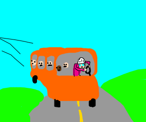 Old lady driving a bus