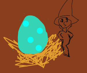Man in Wheatfield guarding giant speckled egg