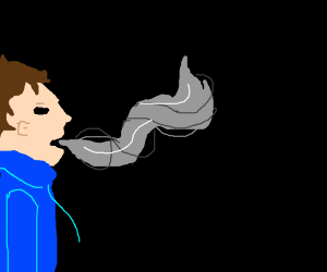 man breathing grey smoke