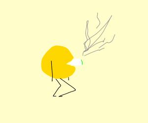 Pac-Man smoking a blunt