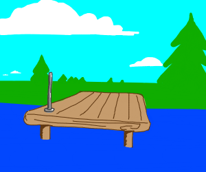A wooden dock but with one metal pole