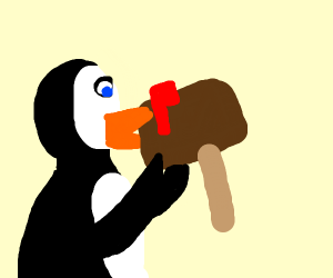 Penguin eating a Mailbox