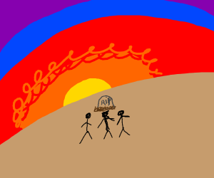 3 stickmen visit a grave in the sunset