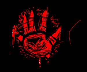 Bloody Satanic Handprint