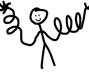 Stick man with really really long swirly arms