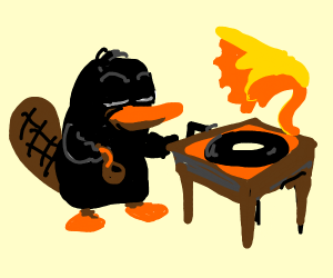 Black platypus plays gramophone