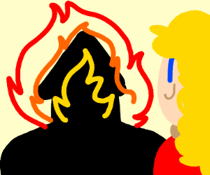Woman in red happily watches house burn down