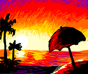 its a sunset over the ocean :D