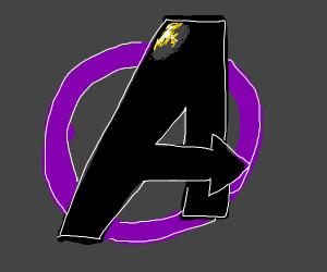 Avenger logo w/o circle on purple background