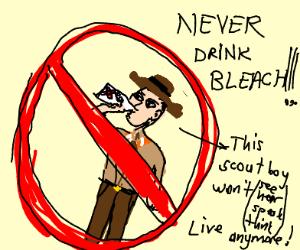 boy scout drinks bleach
