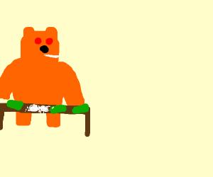 Orange bear with money and drugs