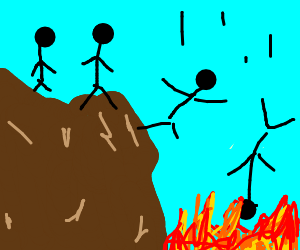 Stick people falling into fire
