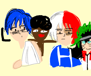 Iida,Blastard,Midoruto w/broken arm,Todoroki.