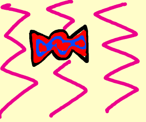 bowtie surrounded by pink lightning