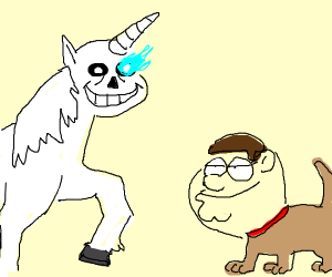 sans unicorn and peter griffen dog