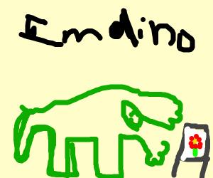 dinosaur paints a flower