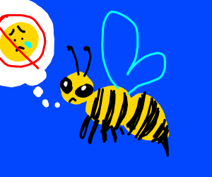 Cute bee doesn't like sadness