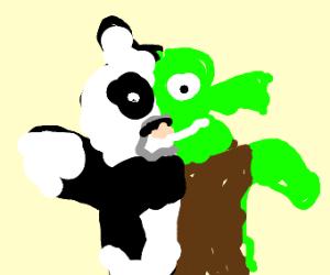 Panda and Shrek fusion