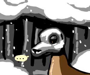 Deer with skeleton face is sad in snow woods