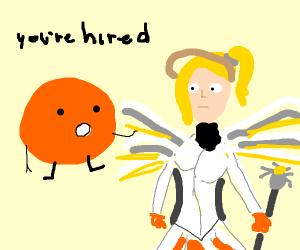 orange man hires Mercy for something