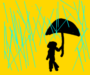 Sad guy stands in the rain with an umbrella