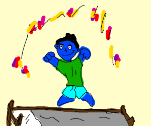Blue person jumps on bed with confetti