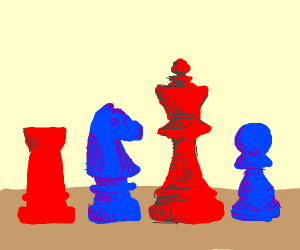red and blue chess peices