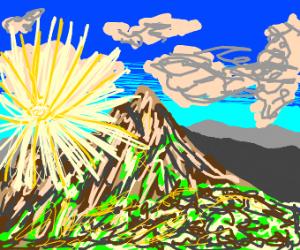 A mountain at sunrise.
