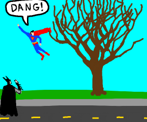 superhero stuck in tree