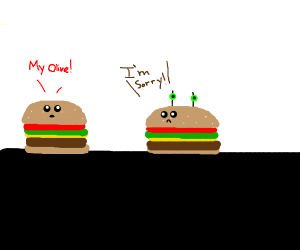 A burger apologizing to another burger